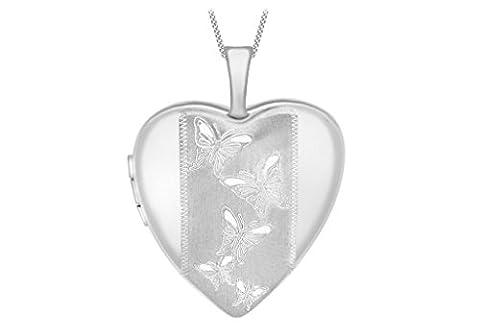 9ct or blanc gravé papillon Détail médaillon en cœur sur Chaîne 46cm/18