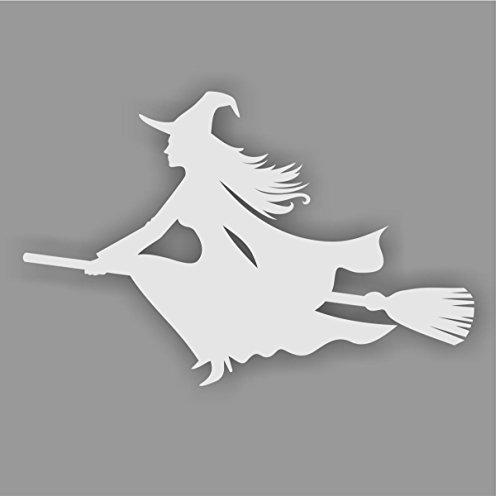 Aufkleber Hexe auf Besen, Farbe: Silber, Art. kfz_270_links für Auto, LKW, Motorrad, Roller, Fahrzeuge, Laptops, Notebooks, Sticker, (Kran Kostüm)