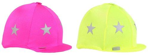 Leuchtender Helmüberzug aus Lycra mit reflektierenden Sternen, Farben: Pink oder Gelb