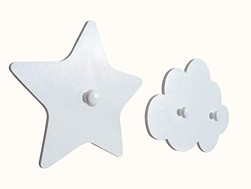 Attaccapanni Pomelli.Coppia Attaccapanni Nuvola E Stella Color Bianco Pomelli Bianchi