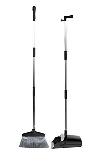 Tiiante Besen Schaufel Kehrbesen und Kehrschaufel Kehrset Kehrgarnitur Schaufel Besen mit langem Stiel 120cm mit ausziehbarem Besen (Schwarz)