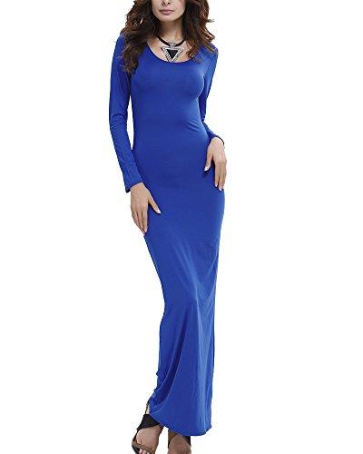 Abbigliamento Casual Donna Maniche Lunghe Abito Aderente Con Scollo A Barchetta Blu