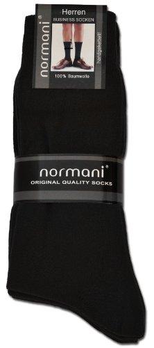 normani 20 Paar Herren Socken aus reiner Baumwolle - klimaregulierend und atmungsaktiv Farbe Schwarz Größe 43-46