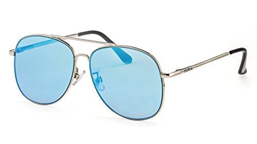 Filtral Verspiegelte Pilotenbrille/Ultra-flache Herren-Sonnenbrille mit Federbügeln und blauem...
