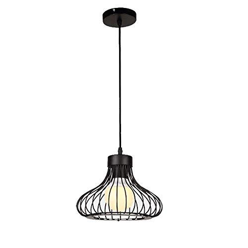 RUXMF- Industrieller Retro-Kronleuchter, Metalleisen-Käfig-Lampenschirm E27 Restaurant Beleuchtung Deckenlicht (schwarz)