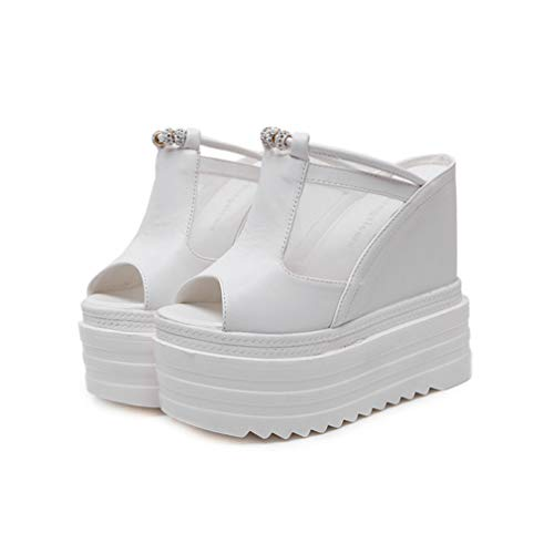 YAN Women es High Heels Slippers PU Mesh Peep Toe Slippers & Flip-Flops Sexy Wedges Schuhe Sandalen Platform Shoes White Black,White,35 -