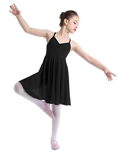 YiZYiF Mädchen Ballettanzug Ballettkleid Spaghetti Träger Kleid Ballett Trikot mit Lange Röckchen in weiß,schwarz, rosa, Lavendel (Schwarz, 134-140(Herstellergröße: XXL))