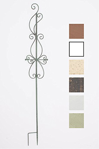 Clp tutore piante rampicanti blanka in ferro - stecca fiori stile country - asta piante con fissaggio al terreno - supporto per rose piante rampicanti - h 126cm verde antico