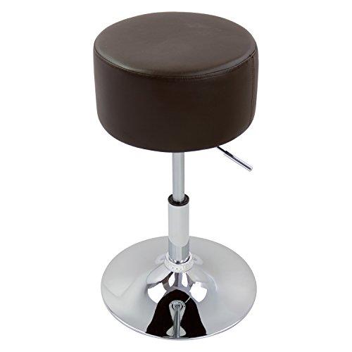 WOLTU BH14br-1 Design Hocker mit Griff, stufenlose Höhenverstellung, verchromter Stahl, Antirutschgummi, pflegeleichter Kunstleder, gut gepolsterte Sitzfläche, braun
