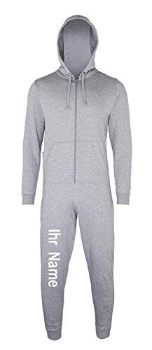 Sofasurfer® Overall Sweatoverall Jumpsuit Jumper mit und ohne Druck heather grey (mit Ihrem Namen)