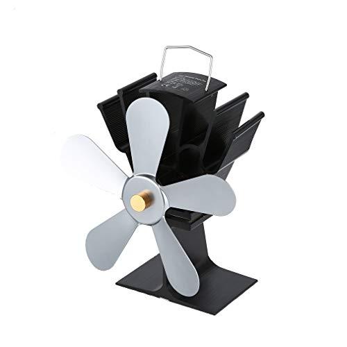 Kamin Fan Wärme Powered Holzofen Fan Fünf-Blatt-Fans grau ()