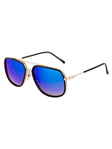 Farenheit Rectangle Sunglasses |FA-735-Golden-Blue-M|