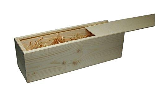 Faba Home Weinkiste Holz Geschenkkiste Kiste mit Schiebedeckel, Holzkiste unbehandelt, Geschenk-Box mit Bio-Holzwolle für 1 Flasche Wein