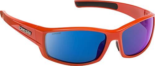 Cressi Unisex- Erwachsene Hunter Sunglasses Sport Sonnenbrille, Orange/Verspiegelte Linsen Blau, One Size