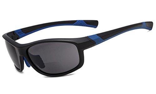 Eyekepper Fashion Sports Bifokale Sonnenbrille TR90 Unzerbrechliche Outdoor-Reader Baseball Laufen Angeln Fahren Golf Softball Wandern Matt Schwarz-Blau Rahmen Grau Linse +1.50