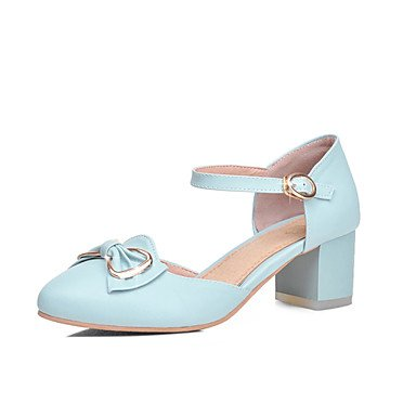 Zormey Damen Sandalen Sommer Herbst Comfort Ankle Strap Pu-Büro & Amp; Karriere Dress Casual Ferse Bowknot Schnalle Rot Rosa Blau Beige US6.5-7 / EU37 / UK4.5-5 / CN37