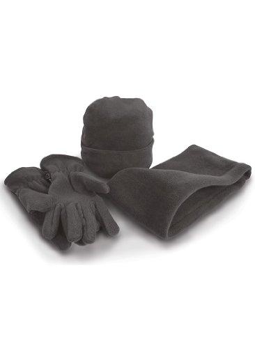 Kohle-fleece-mütze (Result R40X Fleece-Winter-Set mit Mütze, Handschuhen und Halswärmer Gr. L, Grau - Kohle)