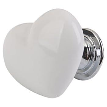 Figura sveglia del cuore Bianco Armadio in ceramica maniglie ...