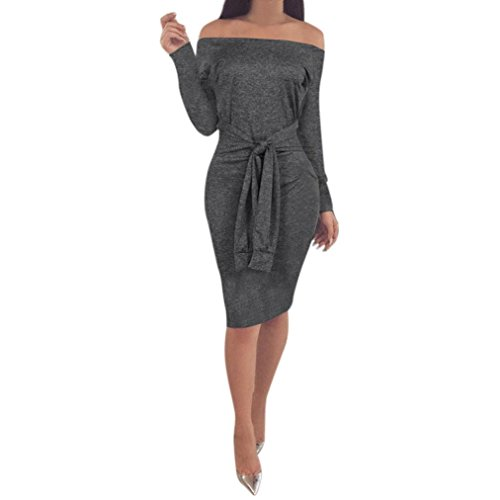 kleid Bodycon weg von der Schulter Langarm Abendkleid Minikleid Blusenkleid Slim Club Dress(A-Dark gray ,EU-36/CN-M ) (Slash Kostüm Für Kinder)