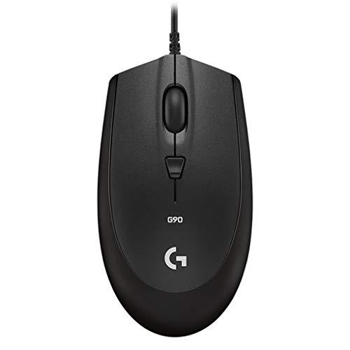Kintaz Logitech G90 Gaming-Maus für beide Hände (kabelgebunden, ergonomisch, 2500 DPI, 4 Tasten, optisches Maus, tragbar, für Notebook, PC, Laptop schwarz -