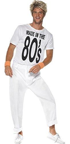 � 1980's 80's George Michael Wham Popstar Jahrzehnte Party Kostüm Kleid Outfit - Weiß, Medium (80 Jahrzehnten Kostüme)