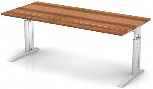Schreibtisch Hammerbach US19 rechteckig 180 cm höhenverstellbar, Dekor wählbar, Dekor:Zwetschge