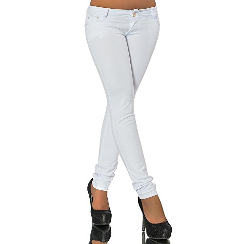 Jean Leggings (G701 Damen Jeans Look Hose Röhre Leggings Leggins Treggings Skinny Jeggings, Farben:Weiß;Größen:40 (L))