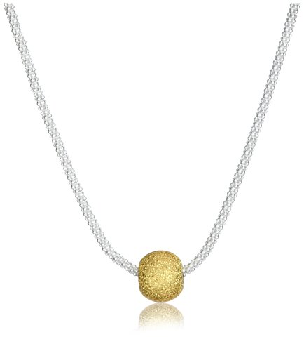Tuscany Silver Popcorn Kette Halskette Vergoldet Sterling Silber Texturiert Ball 46cm/18zoll