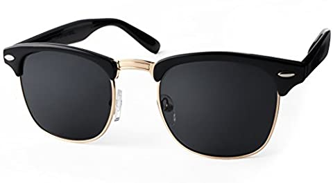 UVprotect® Clubmaster Horn Optik Sonnenbrille Schwarz
