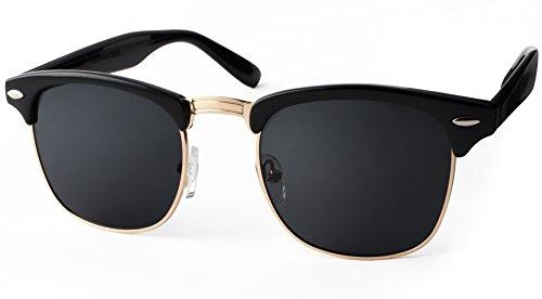 UVprotect® Clubmaster Horn Optik Sonnenbrille Schwarz W33