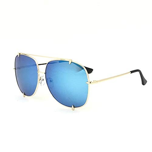 HUOYAN Übergroße Pilot Sonnenbrille Frauen UV400 Retro Big Frame Sonnenbrille for Weibliche Damen Brillen (Frame Color : Multi, Lenses Color : C8 Gold Blue Mirror)