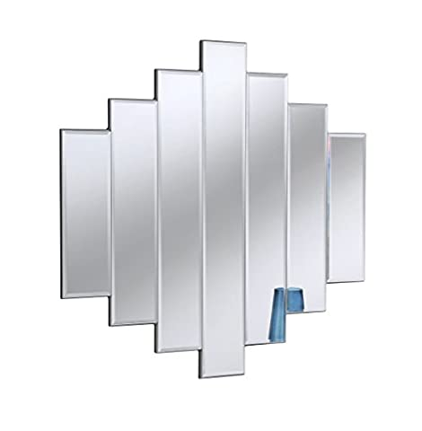 Yearn Contemporary 7-Panel Bevelled Wall Mirror, 91 x 89 cm, Silver