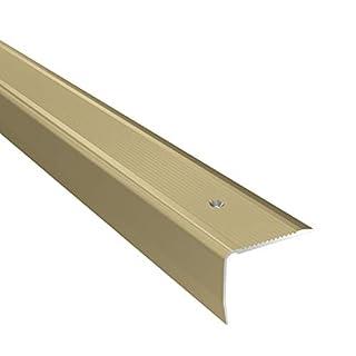 Aluminium Stair Nosing Edge Grooved Rubust Trim Step Nose Edging -1.20M TMW Profiles (Gold)