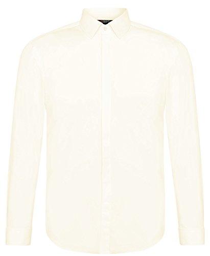 CRIXUS Herren Hemd Slim Fit - Extra lange Ärmel - Bügelleicht Weiß Creme Ivory (3XL - Kragenweite: 47/48, Creme Champagne)