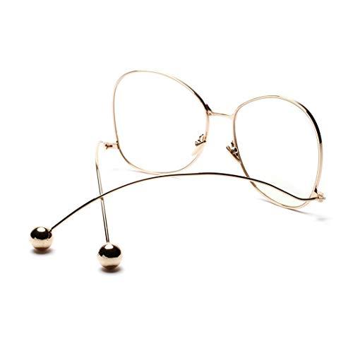 WULE-RYP Polarisierte Sonnenbrille mit UV-Schutz Brillengestell aus Metall, runde Eisenperlengläser, dekorative Brillen. Superleichtes Rahmen-Fischen, das Golf fährt (Farbe : Golden)
