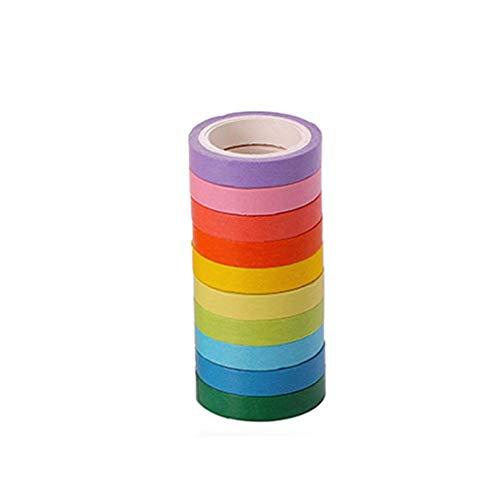 YZLSM Regenbogen-Masking Tapes Variety Set Nette Und Erwachsene DIY Kunst Supplies Kit Coded Rolls 10pcs Pill Sortierte