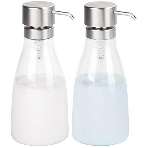 mDesign Juego de 2 dosificadores de jabón líquido en plástico - Dispensador de jabón líquido Grande rellenable - Dispensador de champú, acondicionador o Enjuague bucal - Transparente/Plateado