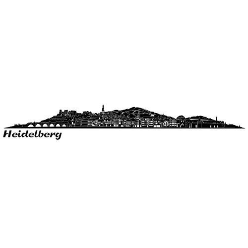 Wandkings Skyline - Deine Stadt wählbar - Heidelberg - 125 x 13 cm - Wandaufkleber Wandsticker Wandtattoo