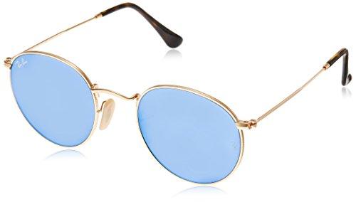 Ray Ban Herren Sonnenbrille Round Metal Gestell: Gold,Bügel: Havana, Gläser: leichtes blau 001/9O), Small (Herstellergröße: 47)