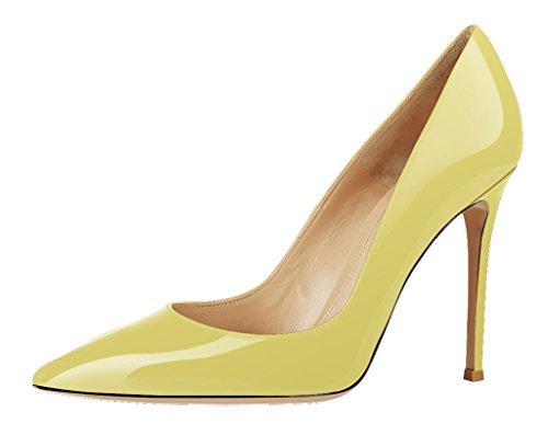 Guoar High Heels Damenchuhe Glitzernd Pumps Lackleder Spitze Zehen Süßigkeit Farben Stiletto Party Hochzeit Gelb