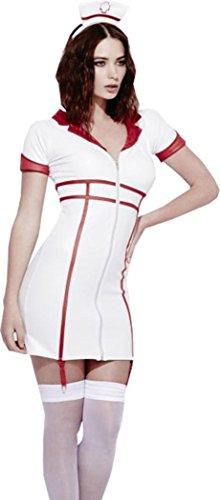 Night Nurse Kostüm - Damen Fancy Party Kleid Krankenhaus Arzt Sexy Fever Rollenspiele Krankenschwester Kostüm, Weiß