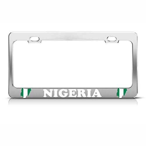 Nigerianische Flagge, Nigeria, Chrom, strapazierfähiges Metall, Adler, Kennzeichenrahmen, ideal für Männer und Frauen, Auto-Garadge Dekor