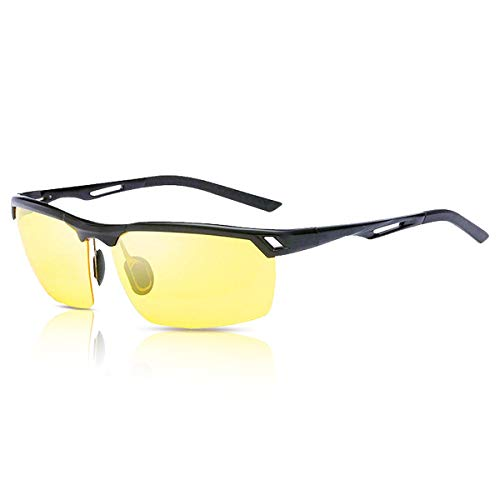 Caso UV400 da sole Lenti Gialla Guida Occhiali Occhiali da Guida Notturni Visione Notturna Cornice Nera