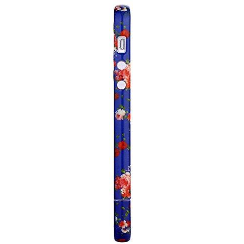 RE:CRON® Bumper Handycase Rahmen für Apple IPhone 5, 5S - Kunststoff - Leopard groß Blumen blau-rot