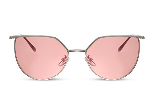 Cheapass Damen Sonnenbrille Rund Cat-Eye Silber Pink Rosa UV-400 Metall Frauen Mädchen