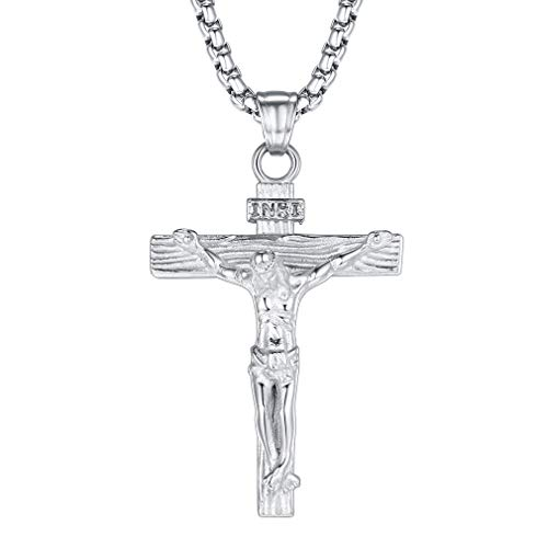 FaithHeart Collier INRI Crucifix Pendentif de la Croix de Jésus INRI pour Homme Jésus Christ sur Croix avec Chaîne 50+5cm en Argenté/Doré/Noir/Rose Or Bijoux Catholique (Boîte Cadeau&Personnalisable)
