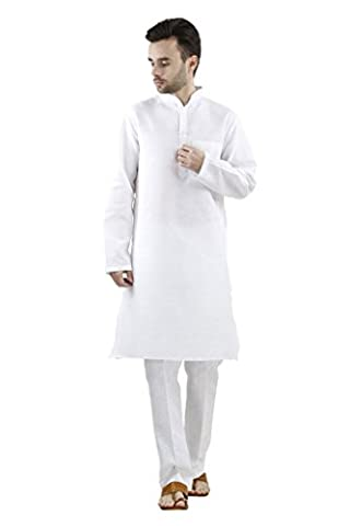 Royal Men's Linen White Kurta Churidar Set For Men