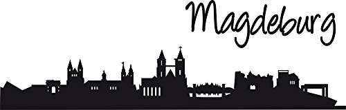 GRAZDesign Wandtattoo Büro Skyline Magdeburg - Wandtattoo Schriftzug Deutschland - Wandtattoo Büro - Wanddeko Umriss / 94x30cm / 070 schwarz