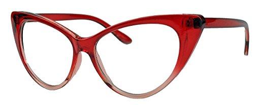 50er Jahre Damen Brille Cat Eye Nerdbrille Klarglas Brillengestell FARBWAHL KE (Rot Ombre)