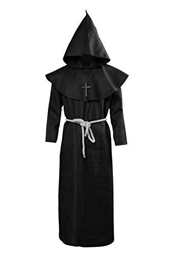 cultofmoon Herren Mittelalterkostüm Friar Robe Zauberer Cosplay Mönch Kostüm Pastor Service christlicher Kirche Priester Halloween Kostüm Gr. Medium, Schwarz